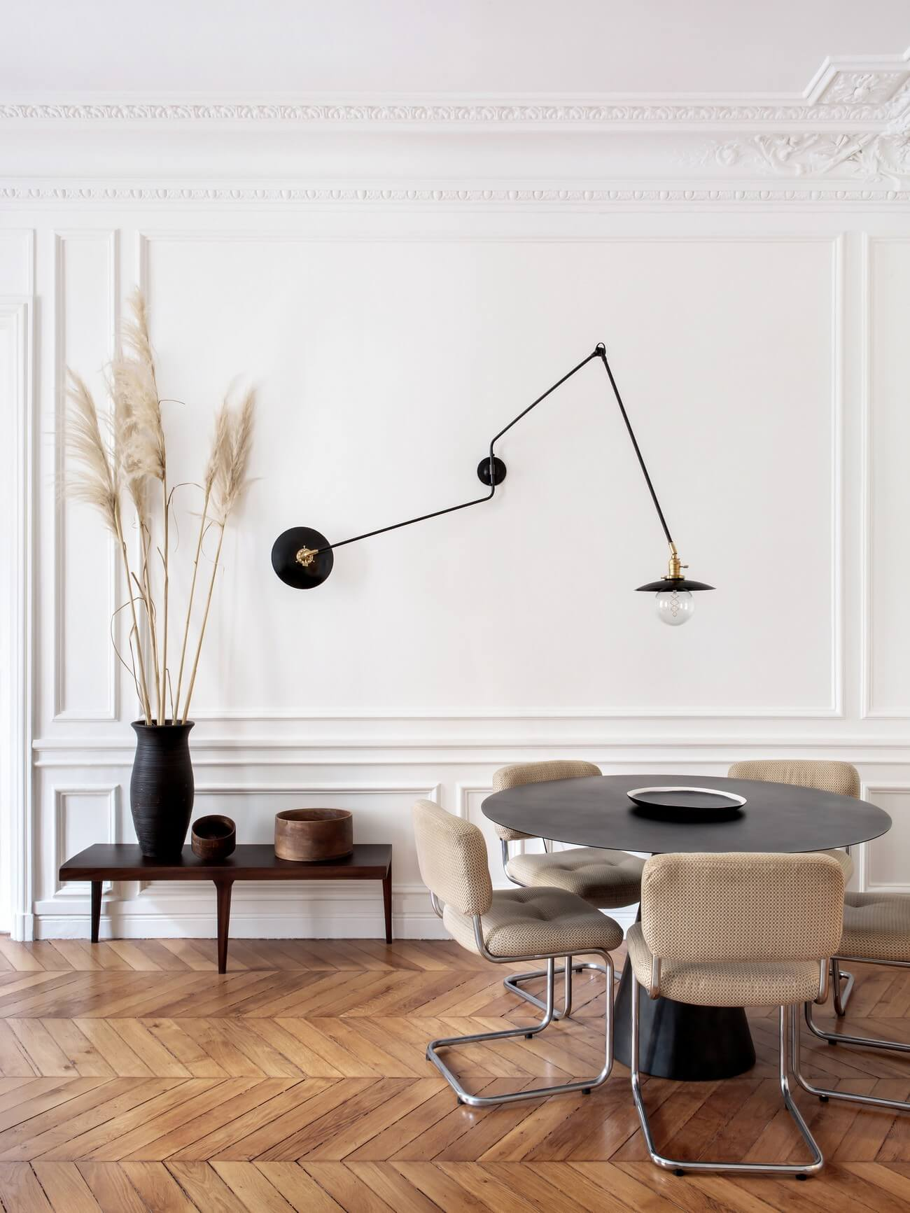 French swing arm double wall lamp industrial design