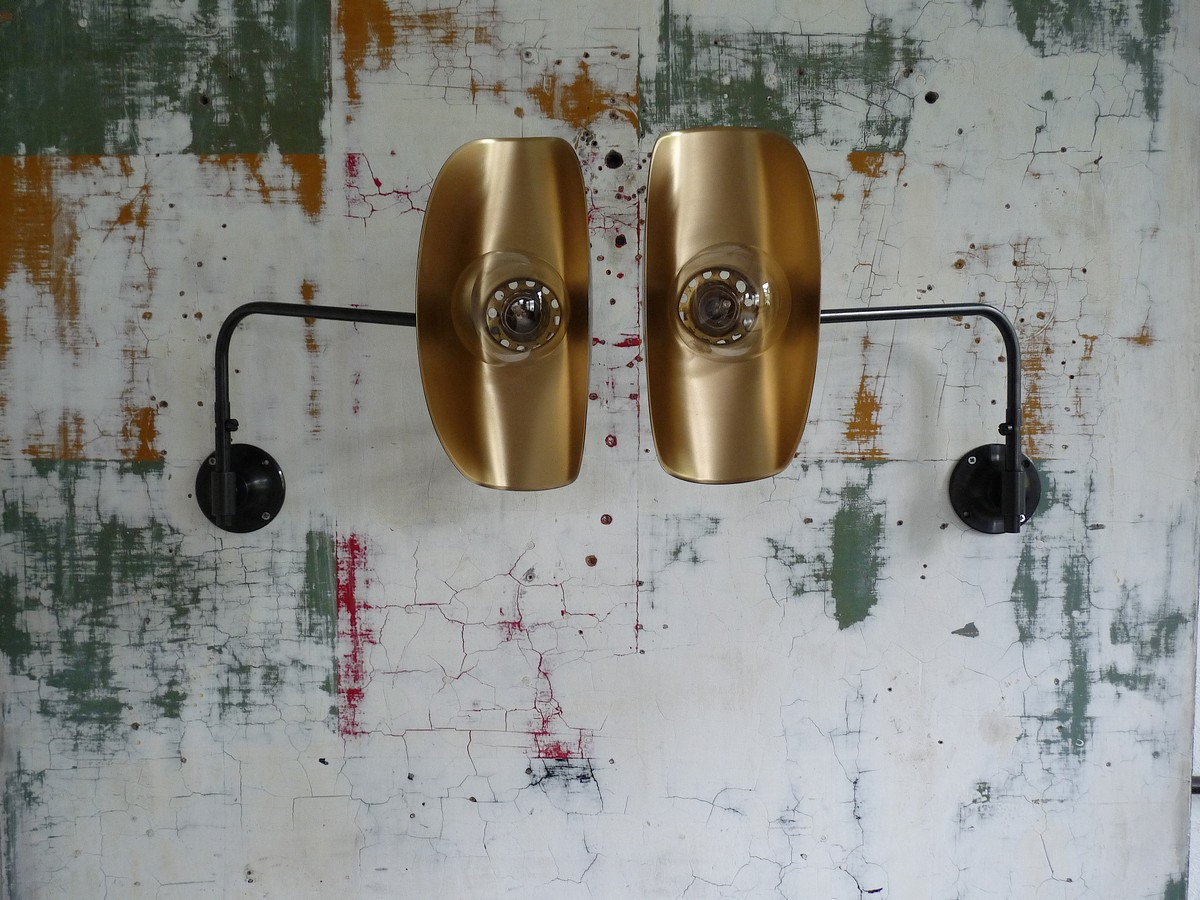 Pair of Brass French swing sconce